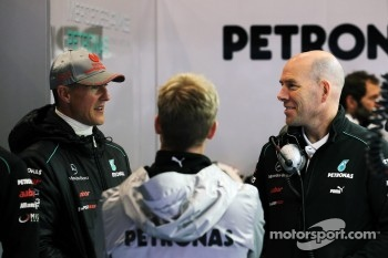 (L to R): Michael Schumacher, Mercedes AMG F1 with Sam Bird, Mercedes AMG F1 Test And Reserve Driver and Jock Clear, Mercedes AMG F1