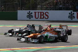 Michael Schumacher, Mercedes AMG Petronas and Nico Hulkenberg, Sahara Force India Formula One Team