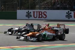 Michael Schumacher, Mercedes AMG Petronas and Nico Hulkenberg, Sahara Force India Formula One Team