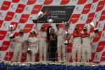 Podium: race winners Frederic Makowiecki, Stef Dusseldorp, second place Gregoire Demoustier, Alvaro Parente, third place Oliver Jarvis, Frank Stippler