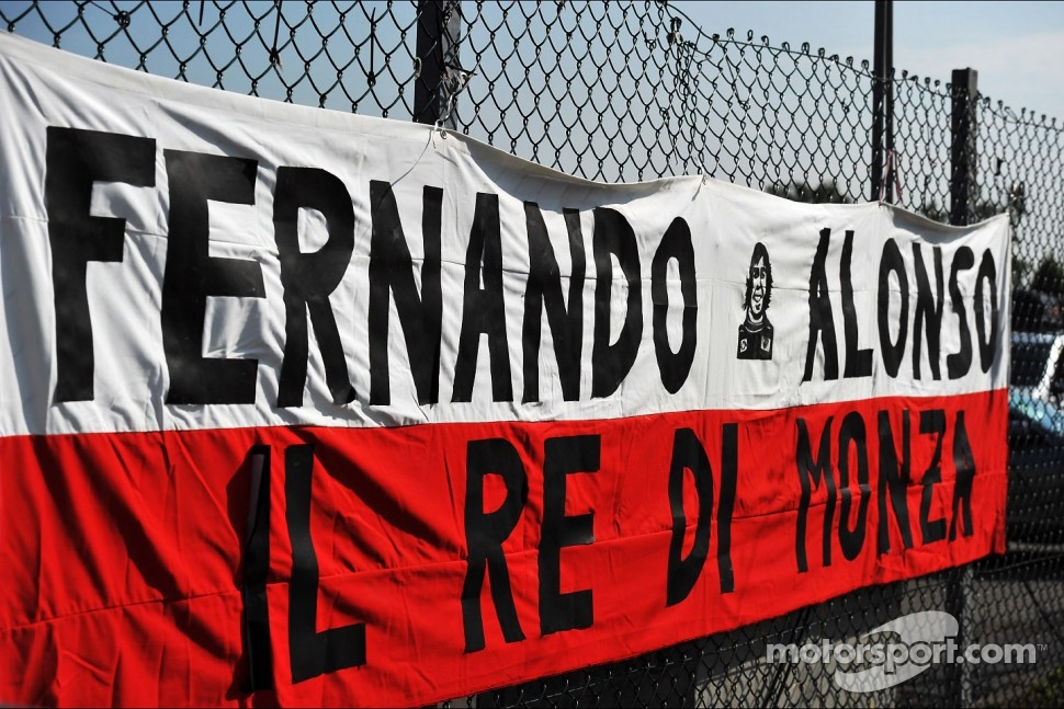A banner for Fernando Alonso, Ferrari