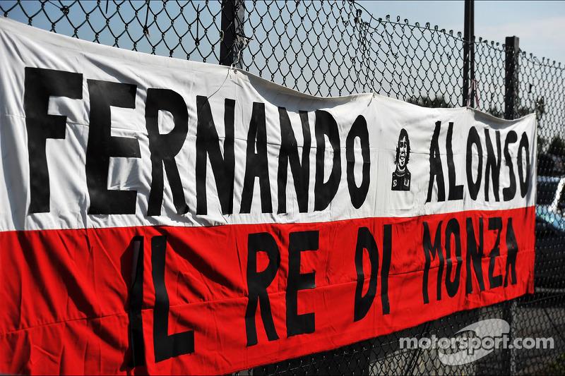 A banner for Fernando Alonso, Ferrari