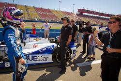 Katherine Legge, Dragon Racing Chevrolet and A.J. Allmendinger share a laugh
