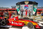 Podium: race winner Carlos Munoz, Andretti Autosport, second place David Ostella, Team Moore Racing, third place Esteban Guerrieri, Sam Schmidt Motorsports