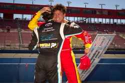 Pole winner Sebastian Saavedra, AFS Racing celebrates with Esteban Guerrieri, Sam Schmidt Motorsports