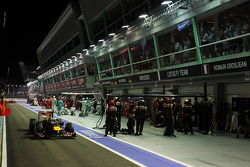 Sebastian Vettel, Red Bull Racing leaves the pits