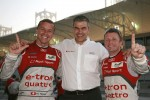 Polesitter Allan McNish and second place Marcel Fssler with Audi's Dieter Gass