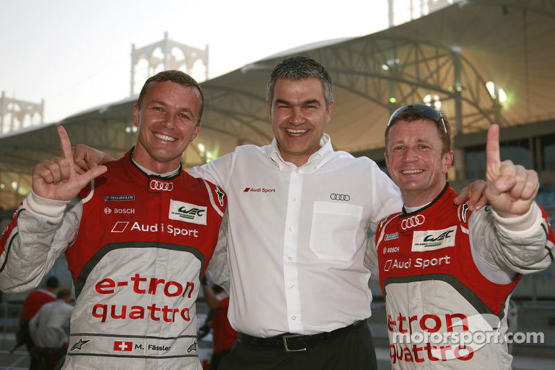 Polesitter Allan McNish and second place Marcel Fässler with Audi's Dieter Gass