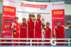 Podium celebration: class and overall winner #24 Ferrari of Beverly Hills 458TP: Carlos Kauffmann, second place #8 Ferrari of Ft Lauderdale 458TP, third place #68 Ferrari of San Francisco 458CS: Mike Hedlund, 458CS class winner #56 Ferrari of Ft Lauderdal