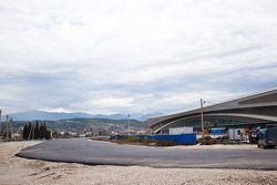Construction of Sochi F1 track, corner near Skating Palace