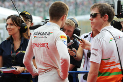 Paul di Resta, Sahara Force India F1 with Will Hings, Sahara Force India F1 Press Officer and the media