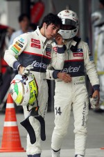 Kamui Kobayashi, Sauber with team mate Sergio Perez, Sauber in parc ferme