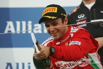 Second placed Felipe Massa, Ferrari suffers from premature champagne elation on the podium