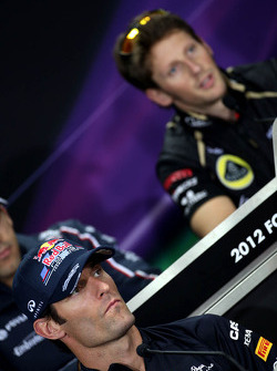 Mark Webber, Red Bull Racing and Romain Grosjean, Lotus F1 Team