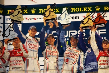 Overall podium: winners Alexander Wurz, Nicolas Lapierre, Kazuki Nakajima