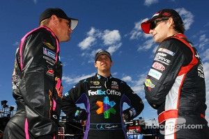 Clint Bowyer, Denny Hamlin and Jeff Gordon