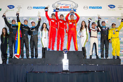 GTC podium: class winners Henrique Cisneros, Mario Farnbacher, Jakub Giermaziak, second place Spencer Pumpelly, Emilio Di Guida, Nelson Canache, third place Emmanuel Collard, Manuel Gutierrez, Mike Hedlund