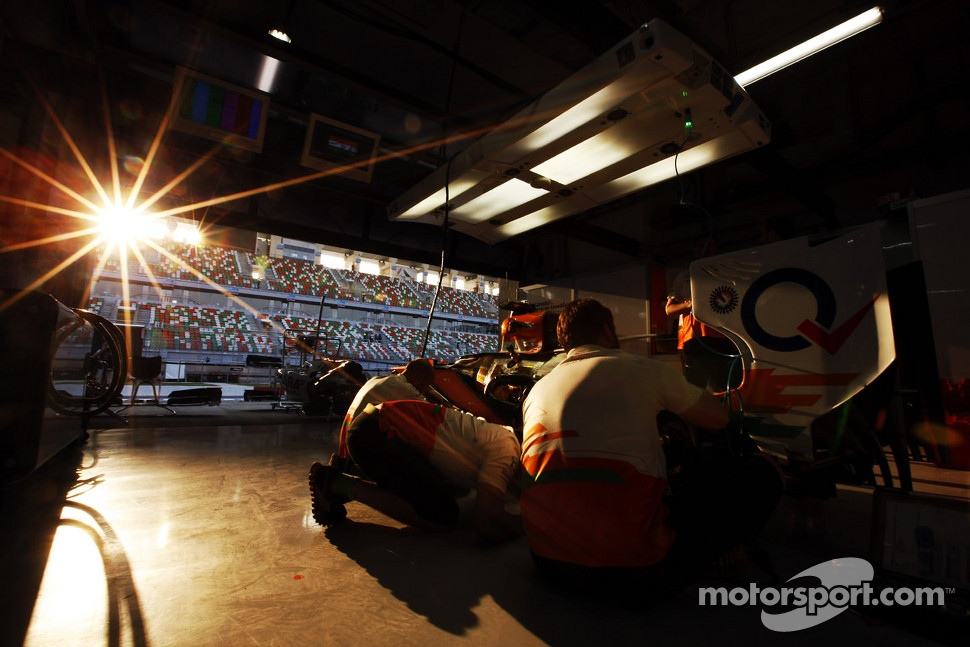 Sun sets in the Sahara Force India F1 Team garage