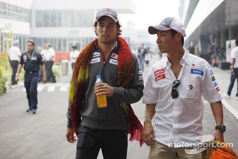 Sergio Perez, Sauber with Kamui Kobayashi, Sauber