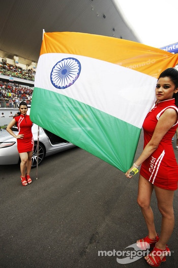 Indian flag on the grid with grid girls