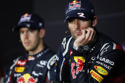 Mark Webber, Red Bull Racing and Sebastian Vettel, Red Bull Racing in the FIA Press Conference