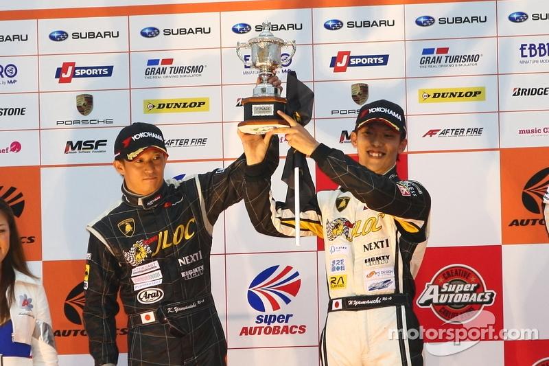 GT300 podium: second place Kouji Yamanishi, Hideki Yamauchi