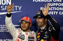Pole winner Lewis Hamilton, McLaren Mercedes, second place Mark Webber, Red Bull Racing