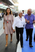 Bernie Ecclestone, CEO Formula One Group, with fiance Fabiana Flosi (BRA)