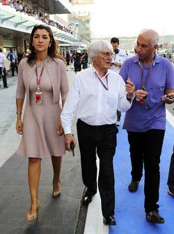 Bernie Ecclestone, CEO Formula One Group, with fiance Fabiana Flosi (BRA)