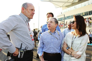 Jean Todt, FIA President and Michelle Yeoh,  with Ron Dennis, McLaren Executive Chairman on the grid