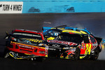 Clint Bowyer, Michael Waltrip Racing Toyota and Jeff Gordon, Hendrick Motorsports Chevrolet involved in a crash