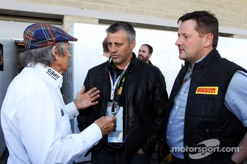 Matt LeBlanc, Actor with Jackie Stewart, and Paul Hembery, Pirelli Motorsport Director