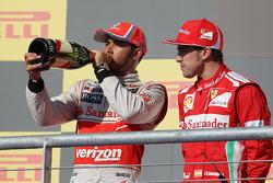 race winner Lewis Hamilton, McLaren with Fernando Alonso, Ferrari on the podium