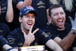 Sebastian Vettel, Red Bull Racing celebrates the constructors' championship with the team