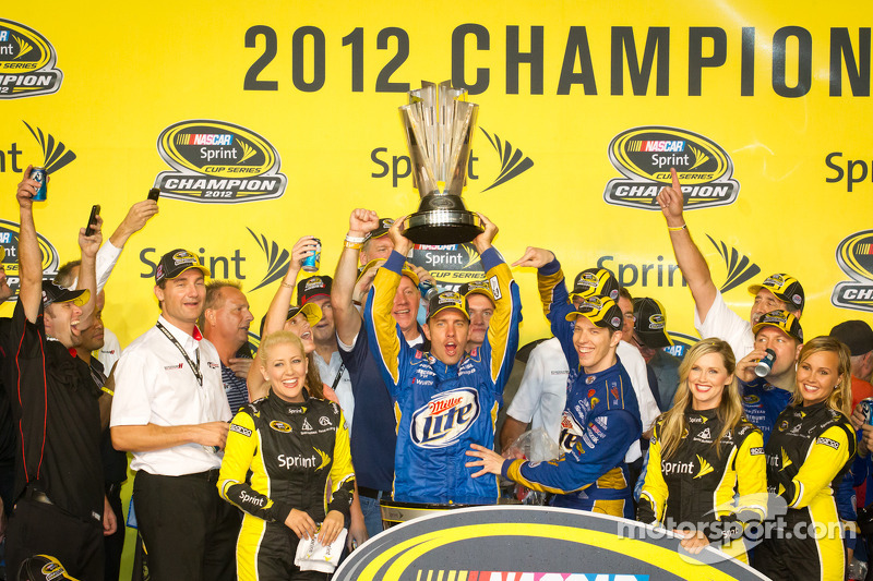 Championship victory lane: 2012 NASCAR Sprint Cup Series champion Brad Keselowski, Penske Racing Dodge celebrates with crew chief Paul Wolfe