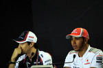 Bruno Senna, Williams and Lewis Hamilton, McLaren in the FIA Press Conference