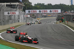 Lewis Hamilton, McLaren leads Jenson Button, McLaren