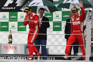 Felipe Massa, Ferrari and Fernando Alonso, Ferrari celebrate on the podium