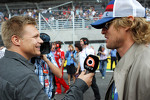 Mika Salo, with Owen Wilson, on the grid