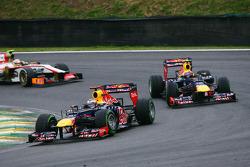 Sebastian Vettel, Red Bull Racing leads team mate Mark Webber, Red Bull Racing