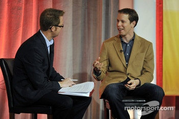 Brad Keselowski speaks onstage at the NASCAR Motorsports Forum at the Aria Resort & Casino