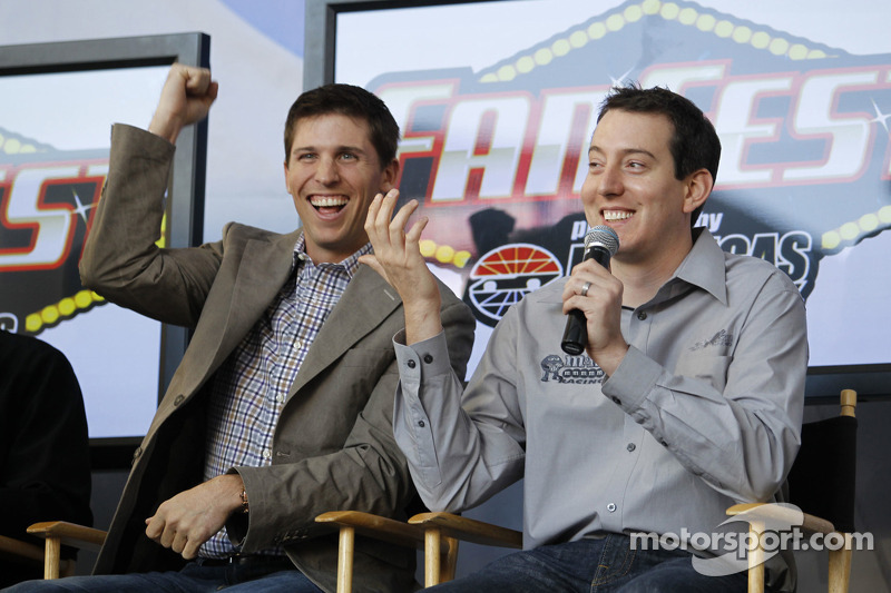 Denny Hamlin and Kyle Busch during the newlywed game