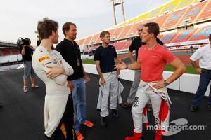 Michael Schumacher, Sebastian Vettel and Romain Grosjean in Bangkok, Thailand