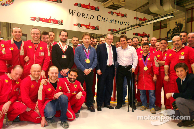 Alex Zanardi visits the Ferrari facilities at Maranello with Stefano Domenicali