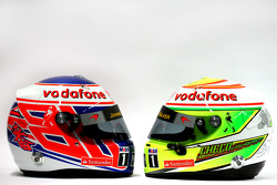 The helmets of Jenson Button, McLaren and Sergio Perez, McLaren