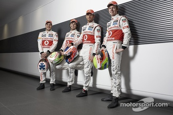 McLaren drivers Gary Paffett, Sergio Perez, Jenson Button and Oliver Turvey