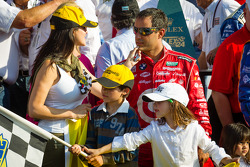DP victory lane: Juan Pablo Montoya with wife Connie and kids