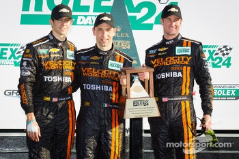 DP podium: second place Max Angelelli, Jordan Taylor, Ryan Hunter-Reay