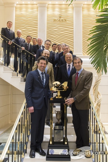 Patrick Dempsey and Emanuele Pirro with other dignitaries with the 24 Hours of Le Mans trophy
