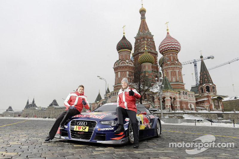Edoardo Mortara and Mattias Ekström unveil Audi's 2013 DTM car